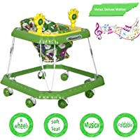 NHR Venus Deluxe Musical Baby Walker with Cushioned Seat, Rattle, Light and Horn (Green)