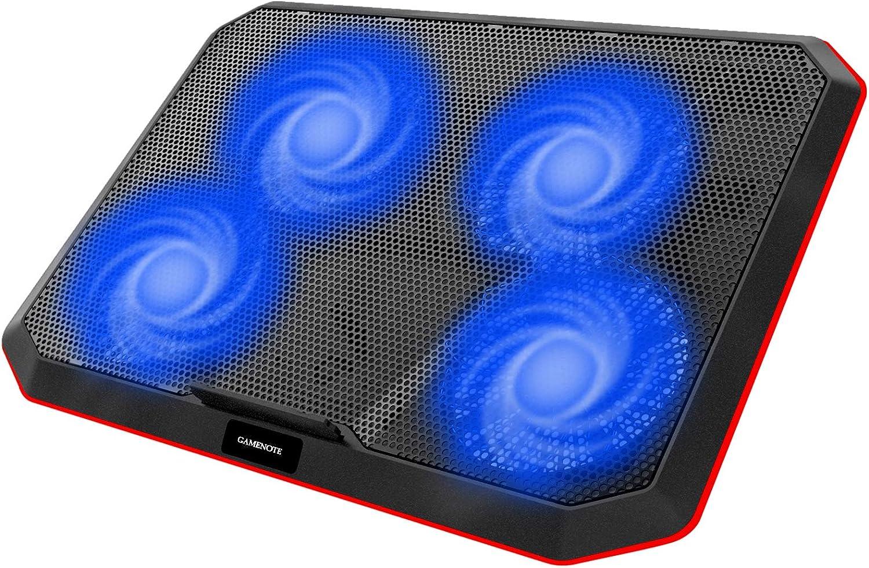 Gamenote Base de Refrigeracion Portatil Ventilador Gaming Cooler con 4 Ventiladores,Almohadilla de Metal, Soporte de Ajustable para Netbook de 15,6 a 17 Pulgadas con 2 Puerto USB (F2069)