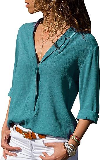 Blusas Mujer Escote V Blusa Manga Larga Camisas Señora Top Camisa De Gasa Larga Camiseras Oficina Elegantes Camisetas Cuello V Lisas Chica Blusones Blusa Vestir Fiesta Largas Anchas: Amazon.es: Ropa y accesorios