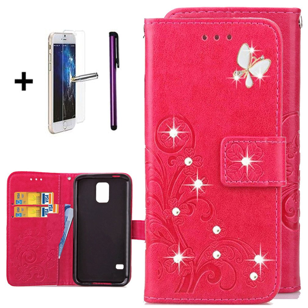 Samsung S5 Mini Case Diamond Ants Dating Rose Gold Galaxy S5 Mini Case ISADENSER Fashion Embossing Butterfly Flowers PU Leather Case With Purse Credit Card Slots Wrist Strap for Samsung Galaxy S5 Mini