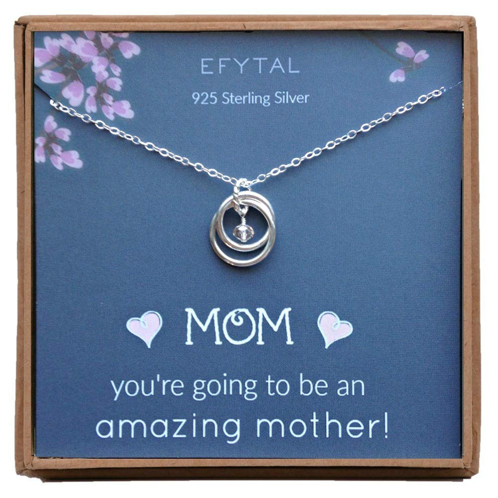 EFYTAL Baby Shower Gift, Sterling Silver Pregnancy Necklace for Expecting New Mom, Pregnant Mother To Be Jewelry