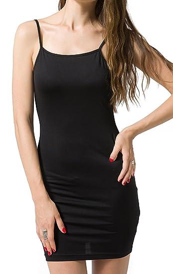 bea736294a8c Chifave Women's Sexy Seamless Bodycon Spaghetti Strap Cami Slip Under Mini  Dress(Blcak,S