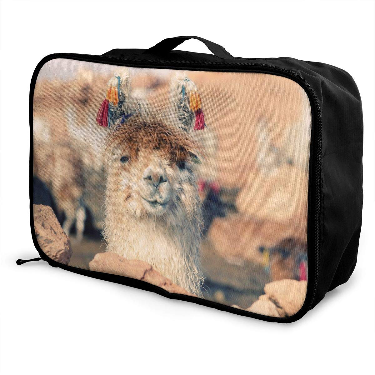 Travel Luggage Duffle Bag Lightweight Portable Handbag Alpaca Lama Print Large Capacity Waterproof Foldable Storage Tote