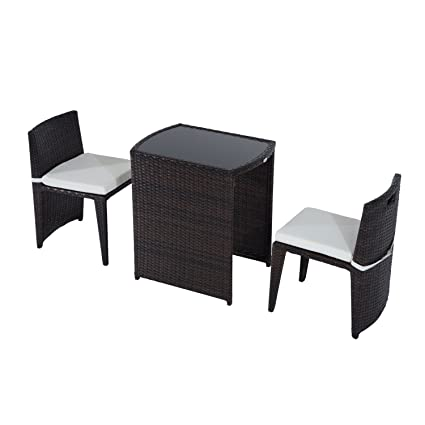 Gentil Outsunny 3 Piece Chair And Table Rattan Wicker Patio Nesting Furniture Set