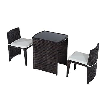 conjunto mesa y sillas mueble mimbre ratan jardin terraza exterior desayuno