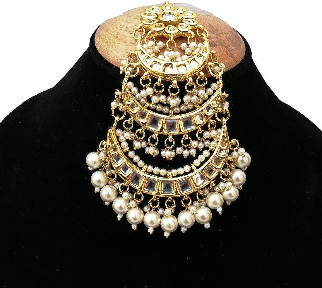 Brautschmuck Hochzeit vergoldet Ohrringe Finekraft Meena Kundan-Perlen-Designer-Schmuckset Halskette Tikka Passa
