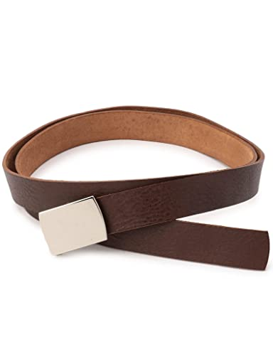 Leather Plaque Belt 118-13-1132: Brown
