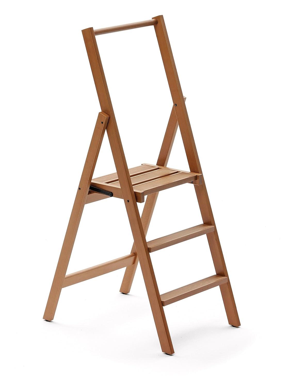 ARROTAMENTI ITALIA 3-Stufen Leiter KIMORA, Holz - zusammenklappbar - 4 Stufen -Farbe  Kirsche holz Ar-It il cuore del legno