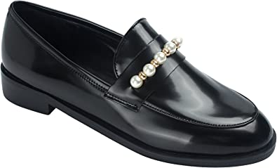 AnnaKastle Womens Classic Black Loafer