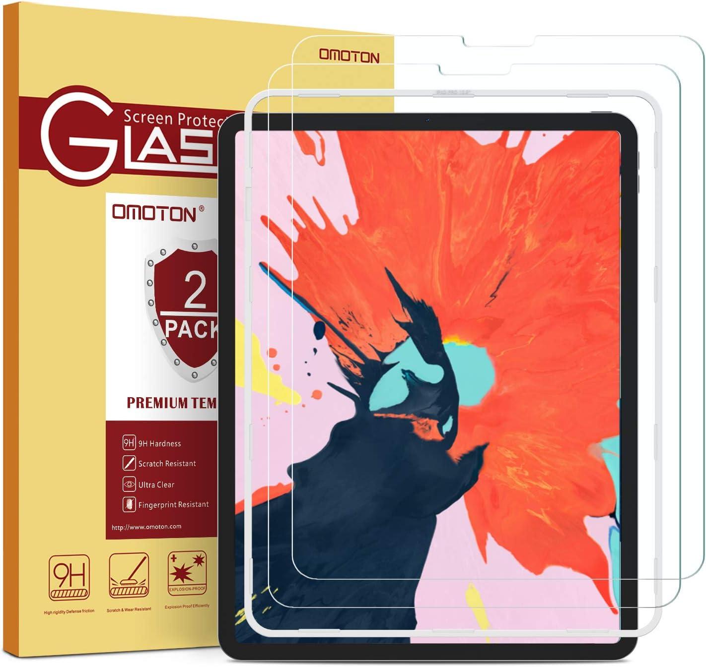 OMOTON Protector Pantalla iPad Pro 12.9 2020 Cristal Templado iPad Pro 12.9 2018, 2.5D - 9H, Hueco Forma U, 12.9 Pulgadas, 2 Piezas