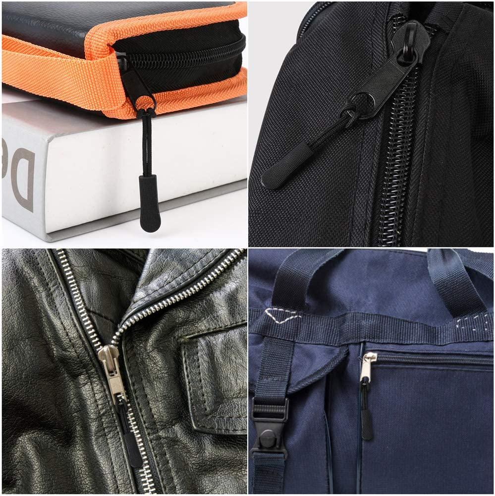 Jackets Luggage Handbags Nylon Cord Extension Zipper Tab Zipper Tags Replacement for Backpacks Black Purses Siasky 24Pcs Zipper Pulls