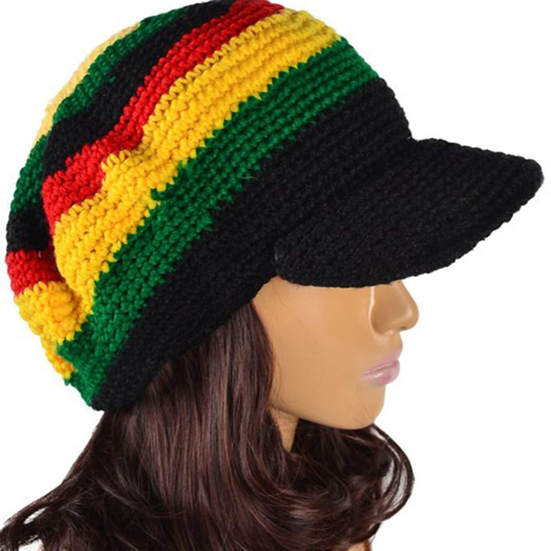 UKURO Women Jamaica Handmade Crochet Cadet Cap Newsboy for Winter Rasta Knit Fancy Dress Costume Visor Hat