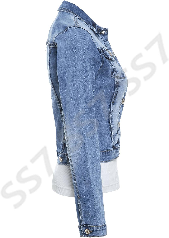 Femmes Nouvelles En 8 Veste 14 JeansBleu SS7 MoyenTailles à 3AcL54Rjq