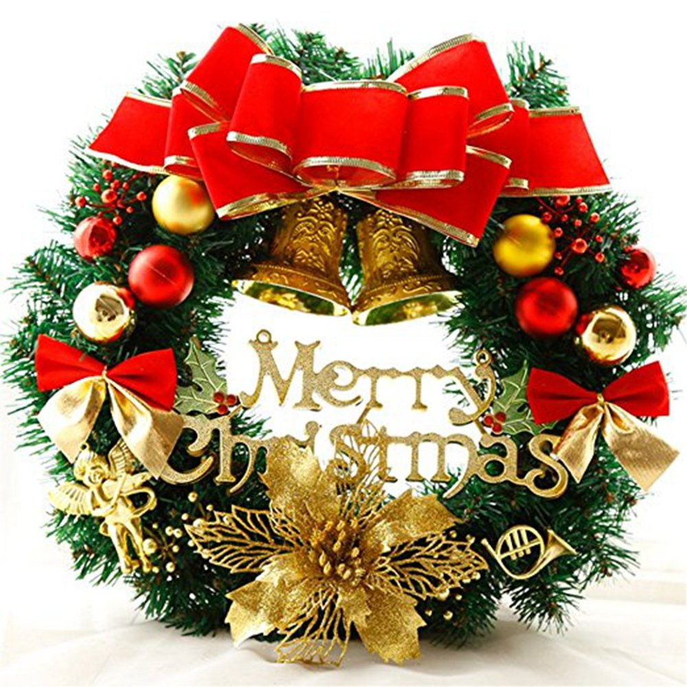 Christmas Wreath, Artificial Garland with Gold Bowknot Bells Gifts for Christmas Party Decor, Front Door, Wall - Diameter 30cm