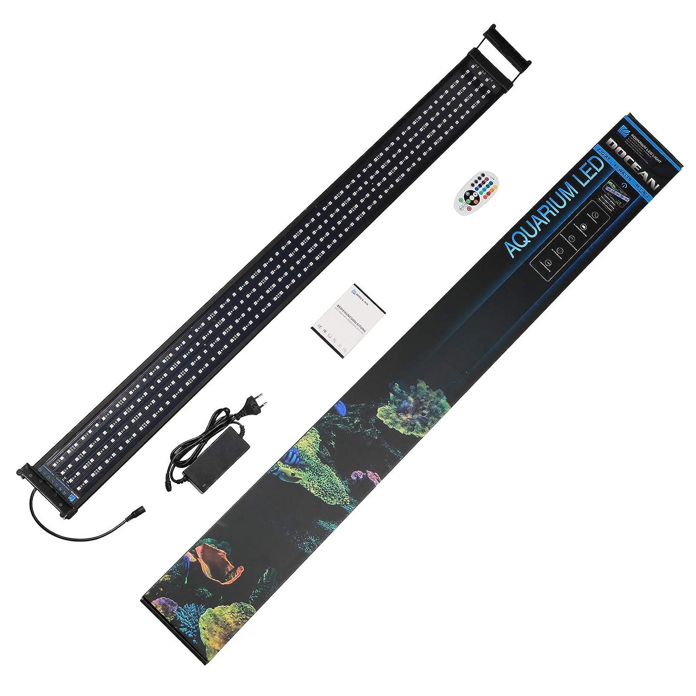 per 115cm-135cm Acquario Lampada LED per Acquario DOCEAN Illuminazione per Acquario Lampada Impianto Acquario con Staffe Estendibili e Telecomando a RF Luce RGB Acquario