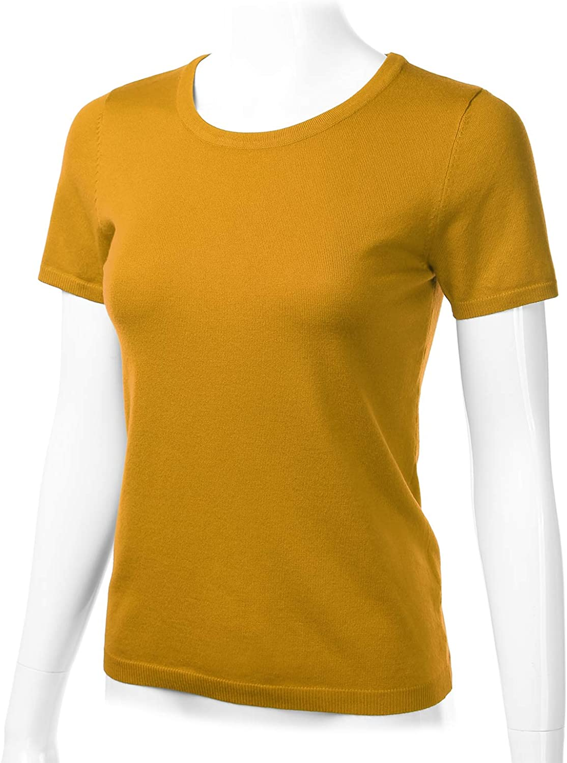FLORIA Womens Soft Basic Crew Neck Pullover Short Sleeve Knit Sweater S-XL
