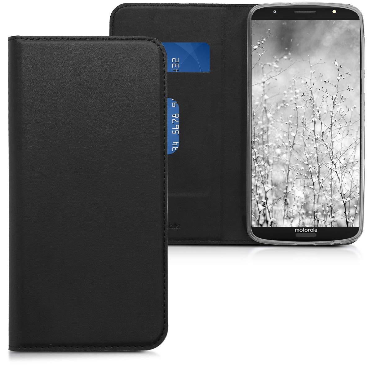 Cuero sint/ético Plegable en Negro Carcasa para m/óvil de - Case kwmobile Funda para Motorola Moto G6 Plus