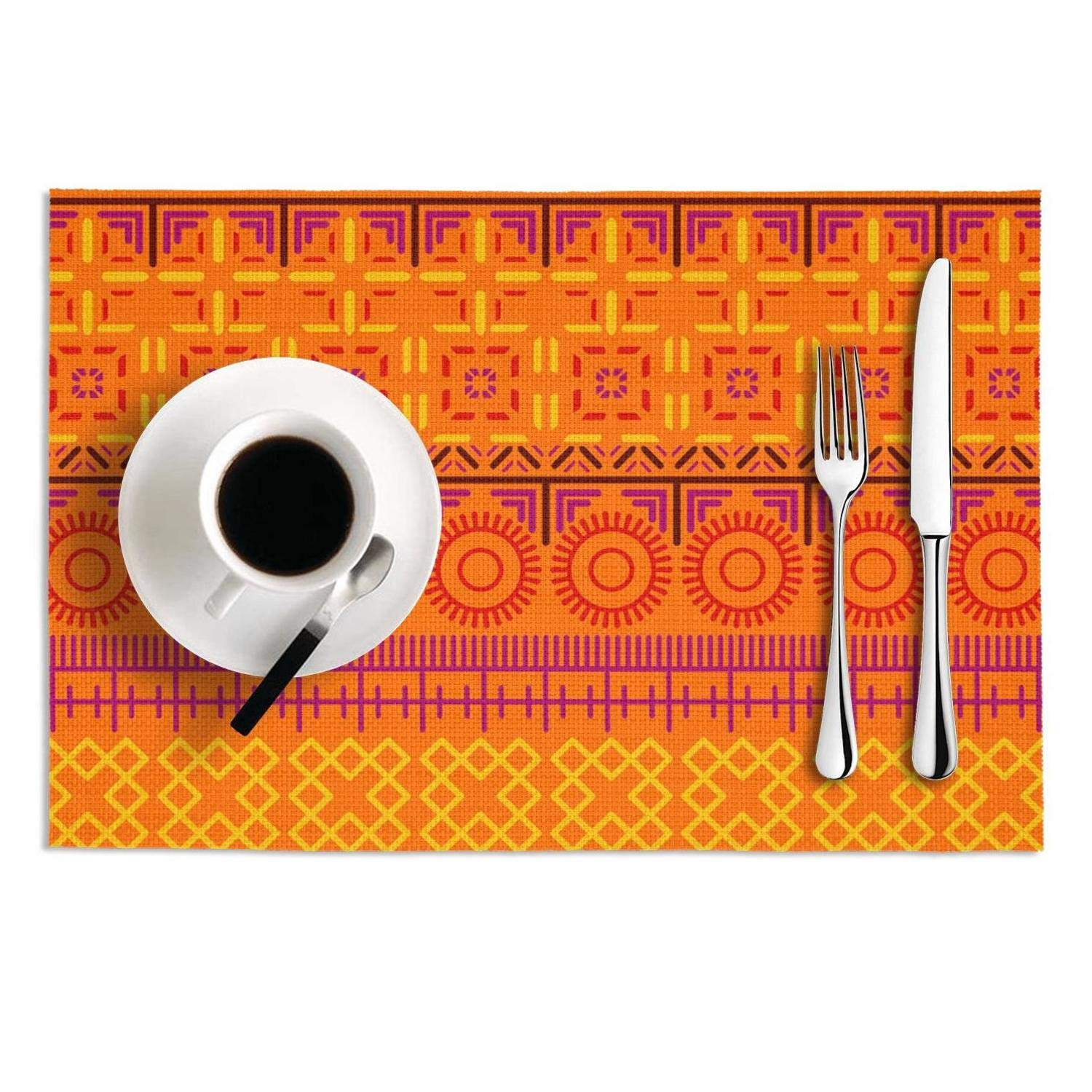 Go Hps2 Placemats Set of 2 Orange Bohemian Style Heat Insulation Funny Printed Waterproof PVC Kitchen Mat