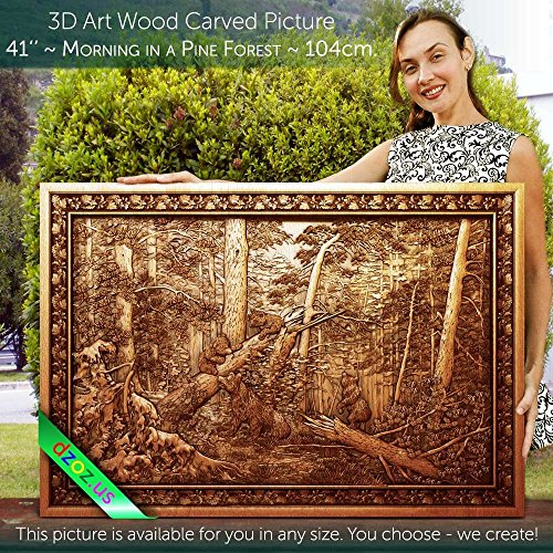 41'' Morning in a Pine Forest 104cm Wood carved 3D painting, icon orthodox catholic art frame by Wood Carving Dzoz
