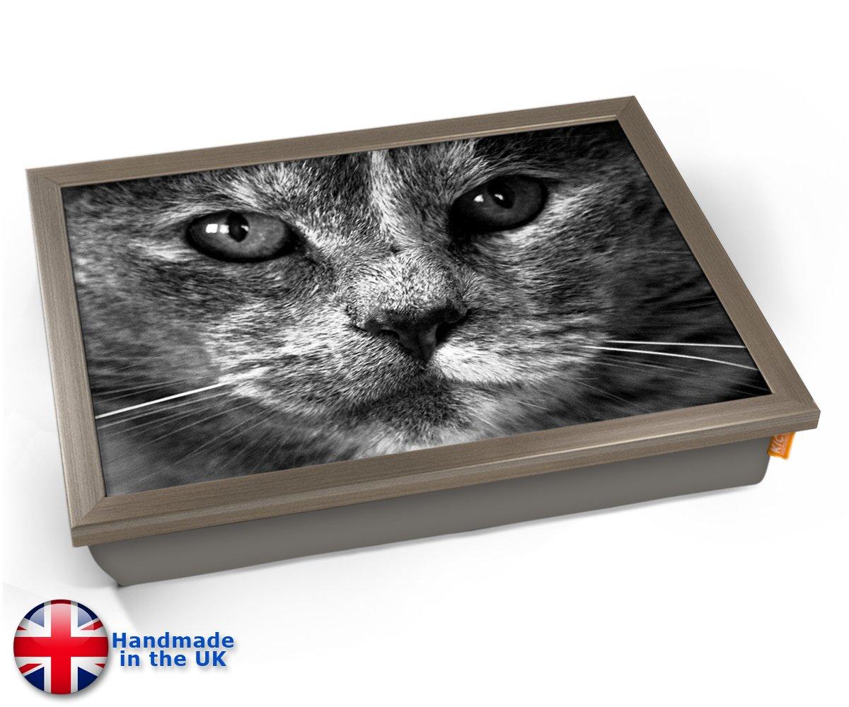 KICOグレー猫クッションLapトレイ 45cm (l) x 35cm (w) x 11cm (d) シルバー KICO-GREY-CAT-CUSHION-LAP-TRAY-CHROME-  Chrome Effect Frame B07CVQR1DK