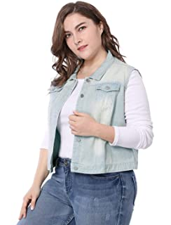 3cf9a0e8671 uxcell Women s Plus Size Single Breasted Denim Vest with Two Flap Chest  Pockets