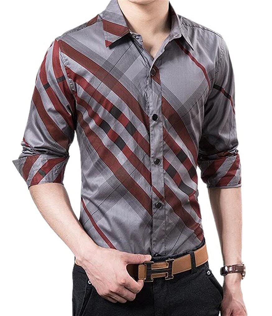 Cafuny Mens Plaids Casual Shirt Button Down Business Dress Shirt