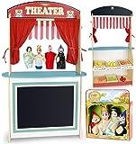 Jouet 3in1: Marché et théâtre de bois + 4 marionnettes à main, Marchande - Jeu D'Imitation - Commerçant