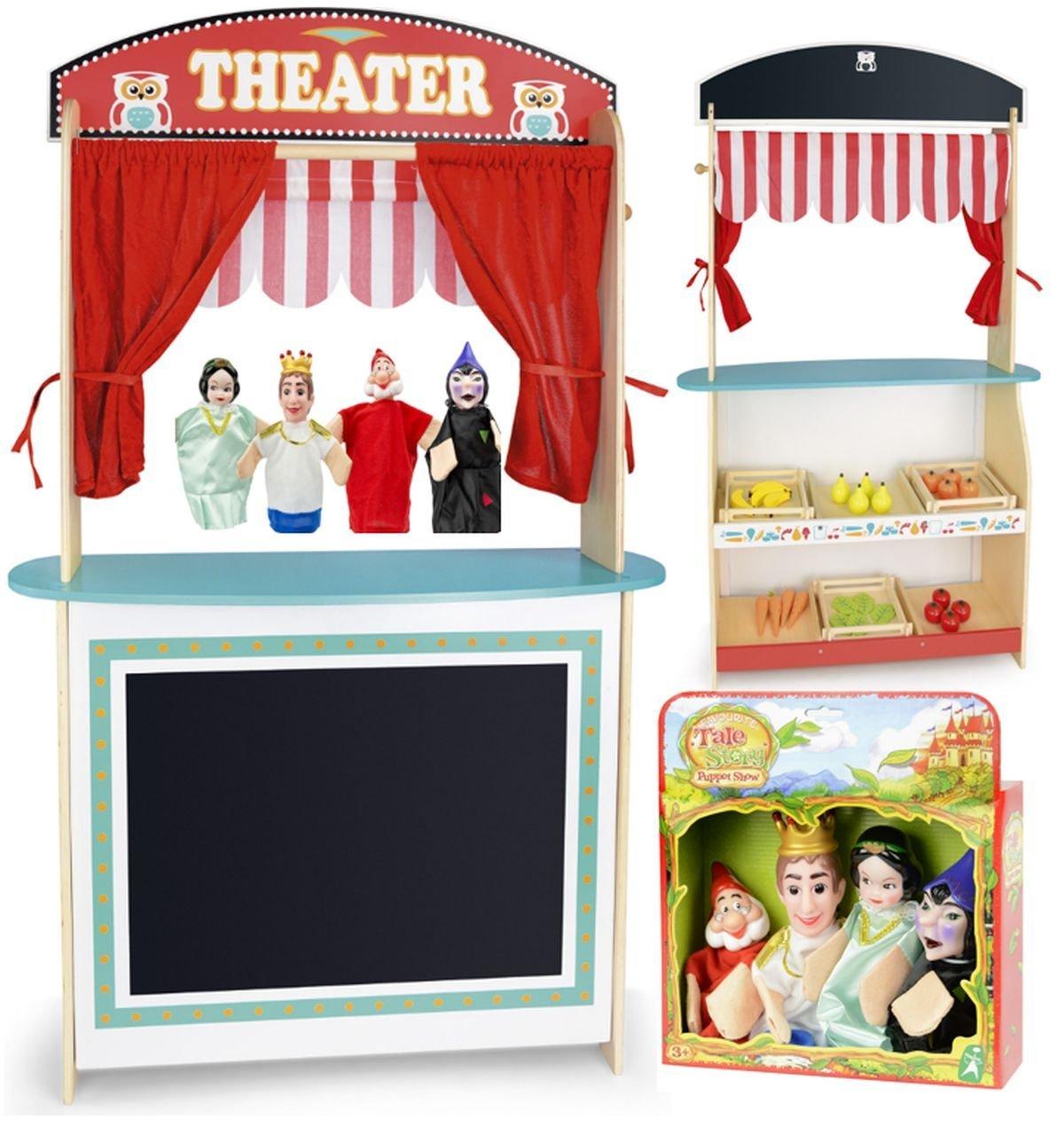 Giocattolo Grande Giocattolo Teatro Dei Burattini Delle Bambole Per Bambini Set Di 4 Marionette Teatrino In Legno Sipario e Negozio Mensola Per Giocare Burattini 4 Pezzi