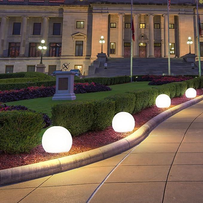2er Set LED Außen Solar Steck Kugel Lampen weiß Marmor-Design Garten Leuchten