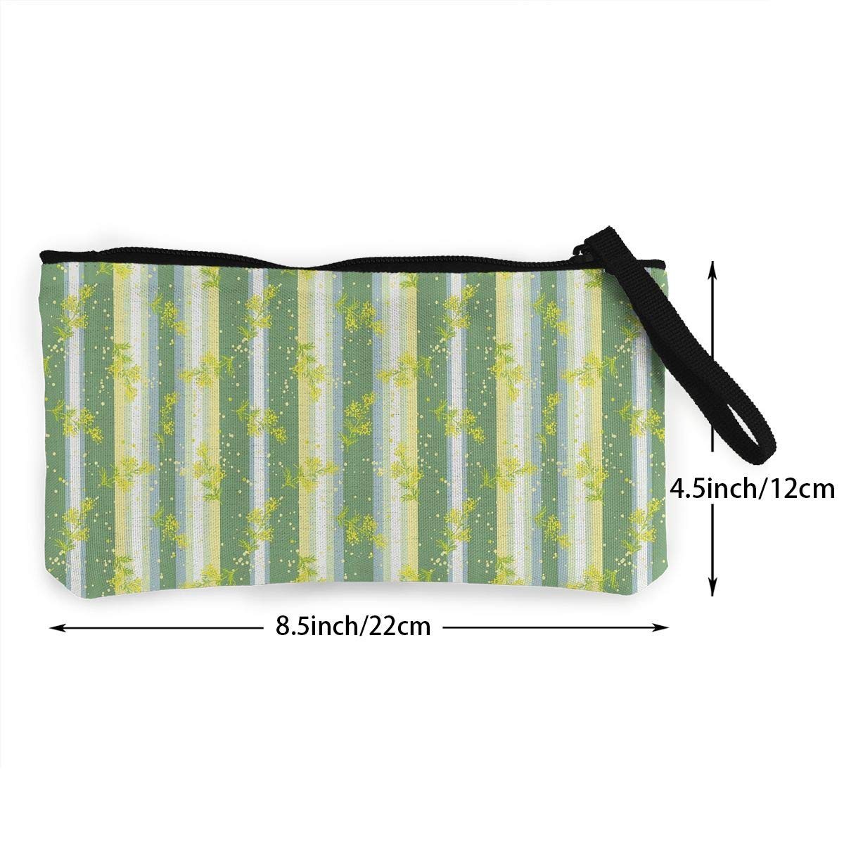 Make Up Bag,Cellphone Bag With Handle Mimosa Spring Flower Leaves Zipper Canvas Coin Purse Wallet