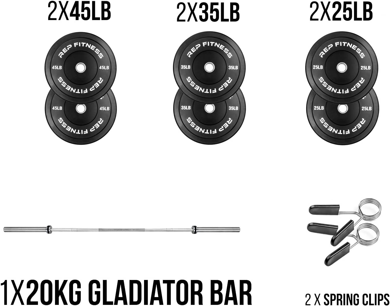 Rep Bar and Black Bumper Plate Package, Weight Set for Strength and Conditioning, Cross-Training and Olympic Weightlifting