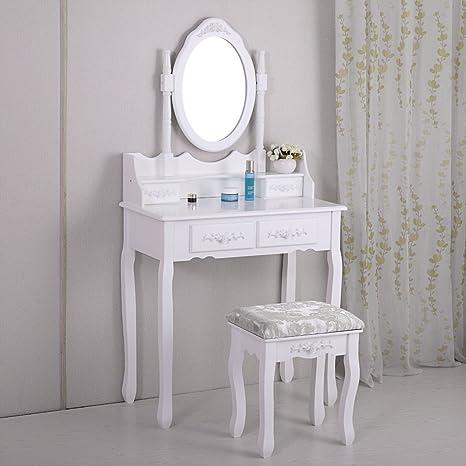 Amazon Com Lazymoon Vanity Table Set Makeup Desk Oval Mirror Table