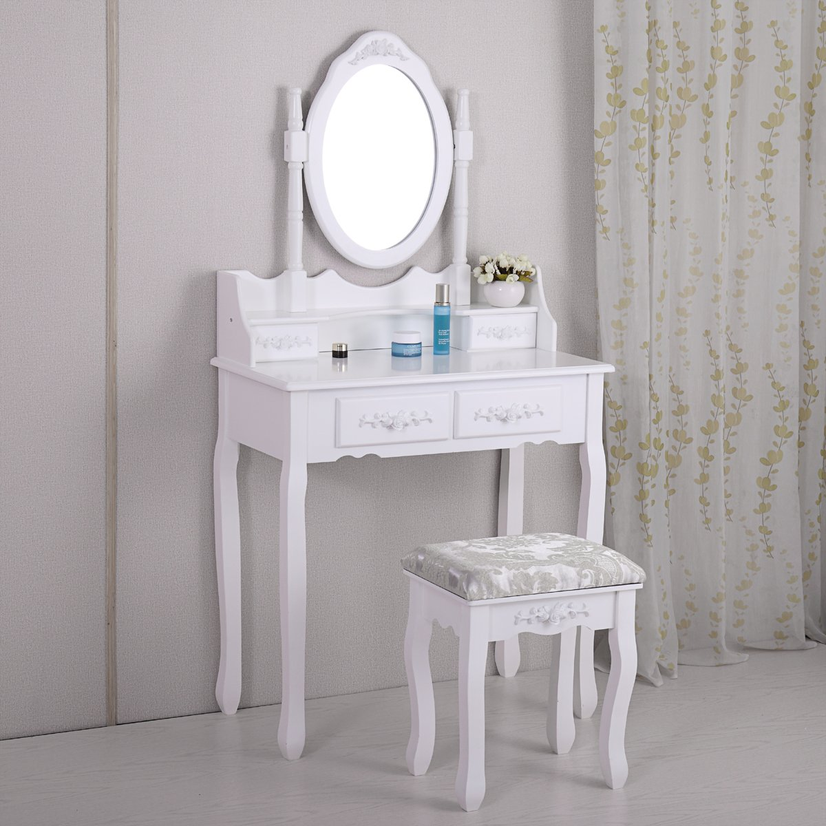 LAZYMOON Vanity Table Set Makeup Desk Oval Mirror Table Set With Stool Bench White Finish
