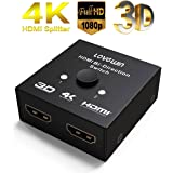 HDMI Switch 4K Splitter, 2 Ports 2x1 or 1x2 HDMI Bi-Directional Switcher with HDCP Pass Through, Support 1080P 4K Ultra HD&3D
