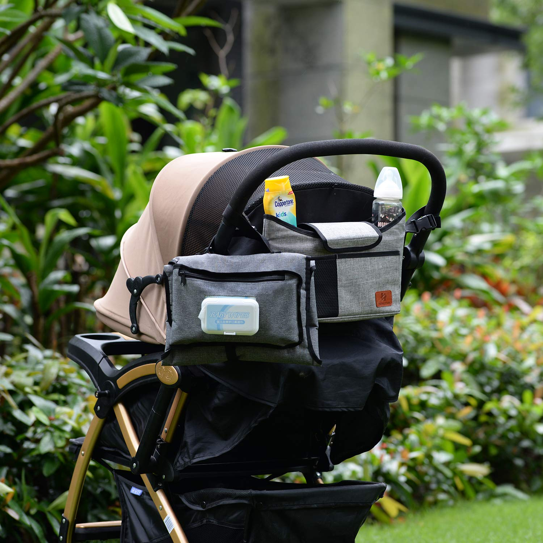 12 Taschen Gro/ßer Stauraum f/ür alle Babyzubeh/örteile Reise Wickeltasche Bote Messenger mit Kinderwagenriemen Baby Wickeltasche grau