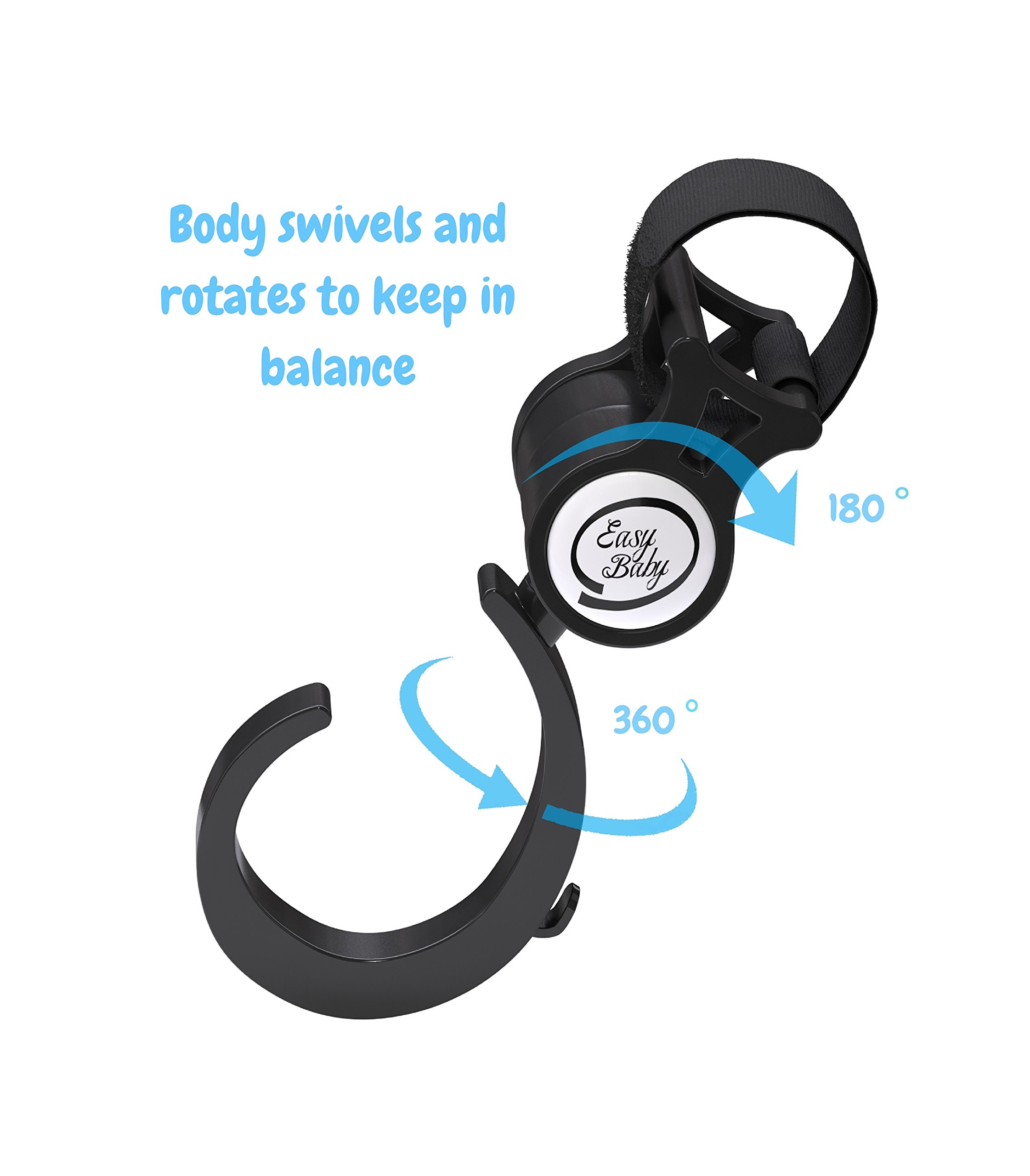 Stroller Hook - 2 Pack of Multi Purpose Hooks - Hanger for Baby Diaper Bags, Groceries, Clothing, Purse - Great Accessory for Mommy when Jogging, Walking or Shopping by Easy Baby (Image #6)
