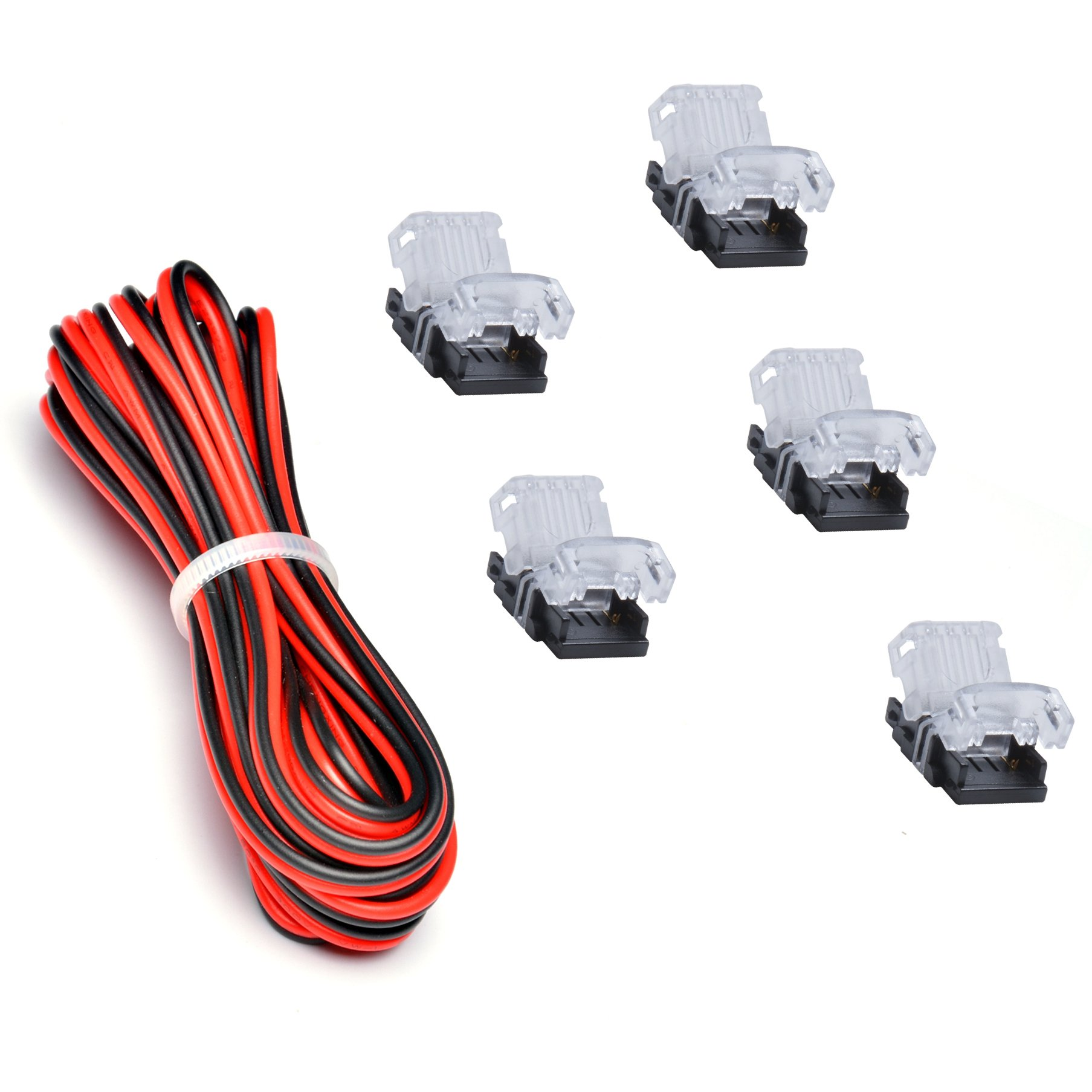 High Density LED Strip Connector(5 PCS) with 20 Gauge Wire(9.8 Feet) for 10mm Single Color Strip Light 2 Pin, Best for 240 SMDs/M, 2835,2216,5050 Workable, NON-WATERPROOF