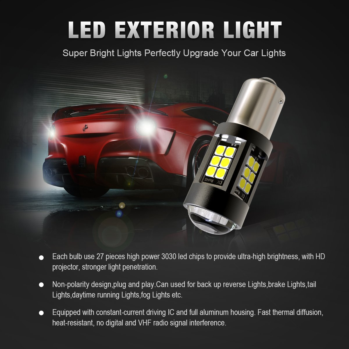 White KF-10157 KAFEEK 2x Extremely Bright 3030 Chipsets 1400 Lumens 1156 1141 1003 7506 LED Bulbs with Projector for Backup Reverse Lights Brake Lights Tail Lights