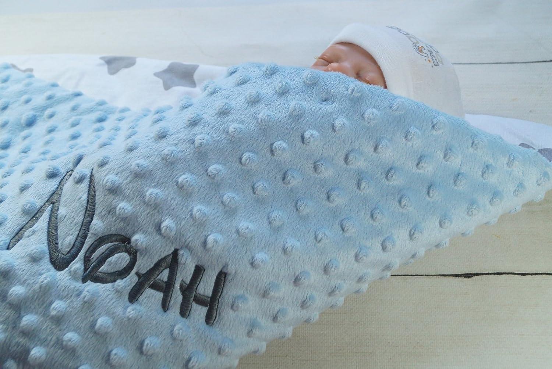 75 x 100 cm, Grau - B/ären ★ Babydecke mit Namen und Datum bestickt ★ MINKY ★ Baumwolle ★ F/üllung ★