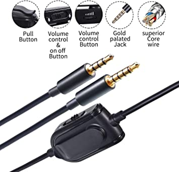 A10 A40 Replacement Cable Inline Mute Volume Control with Clip for Astro Gaming Headset A10//A40 Cord Lead Compatible with Xbox One Play Station 4 PS4 Headphone Audio Extension Cable 6.5 Feet