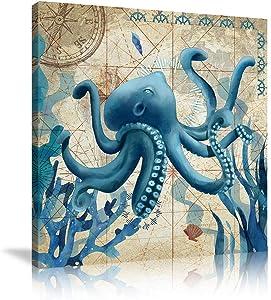 Ocean Home Decor Beach Marine Theme Bathroom Wall Art Teal Blue Mediterranean Style Watercolor Canvas Prints Painting Sea Animal Octopus Framed Ready to Hang