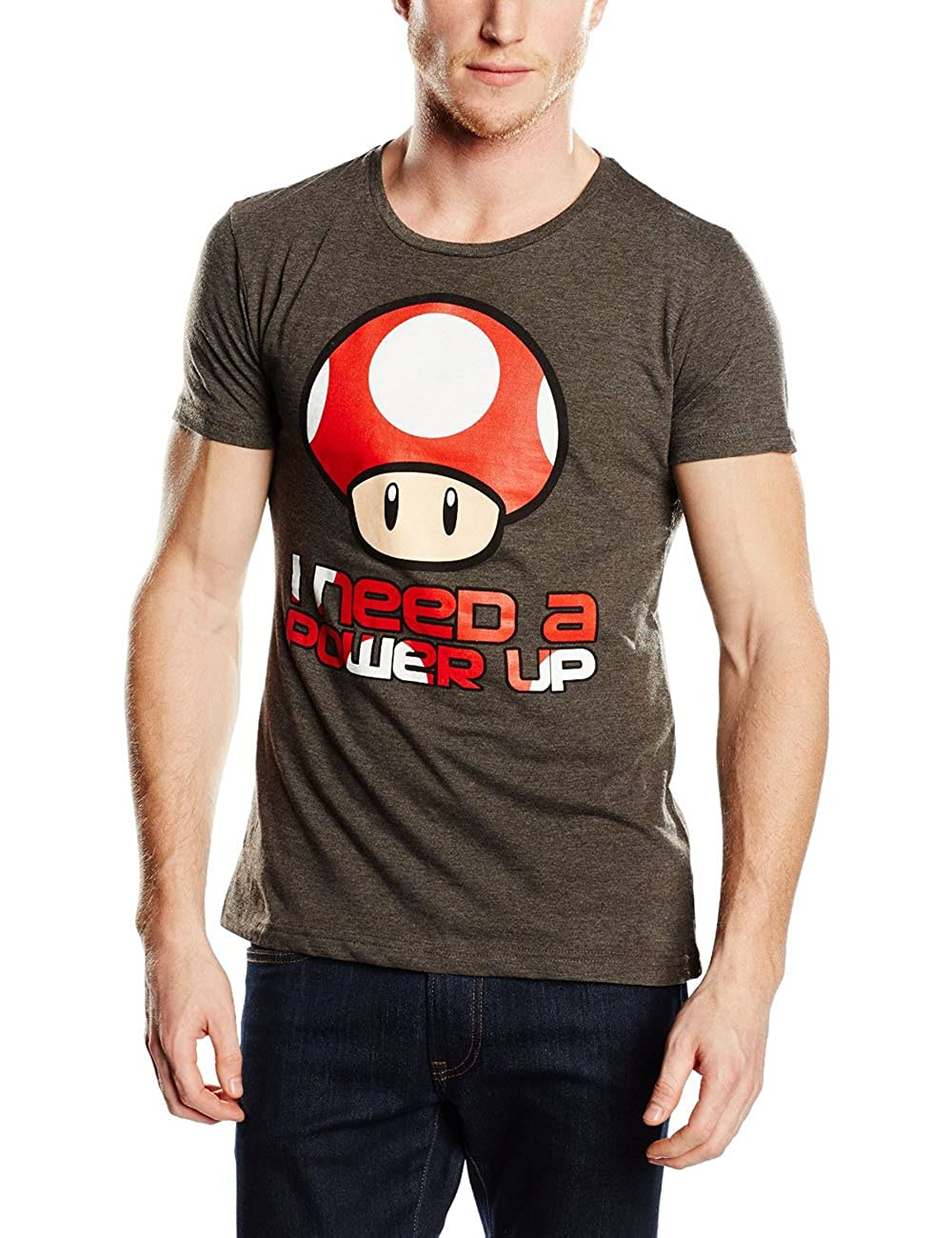 Super Mario Power Up Camiseta Gris/Melé