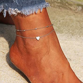 Artmiss Layered Anklets Women Heart Silver Ankle Bracelet Charm Beaded Dainty Foot Jewelry For Women And Teen Girls Summer Barefoot Beach Anklet by Artmiss