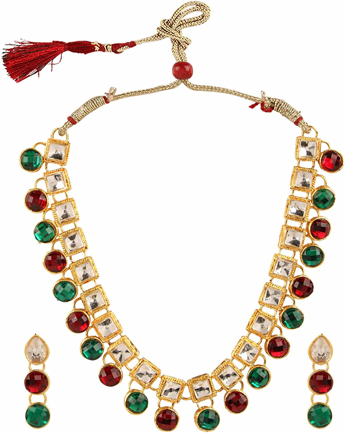 Efulgenz Indian Bollywood Traditional White Red Green Rhinestone Faux Ruby Emerald Heavy Bridal Designer Jewelry Choker Necklace Set in Antique 18k Gold Tone for Women and Girls