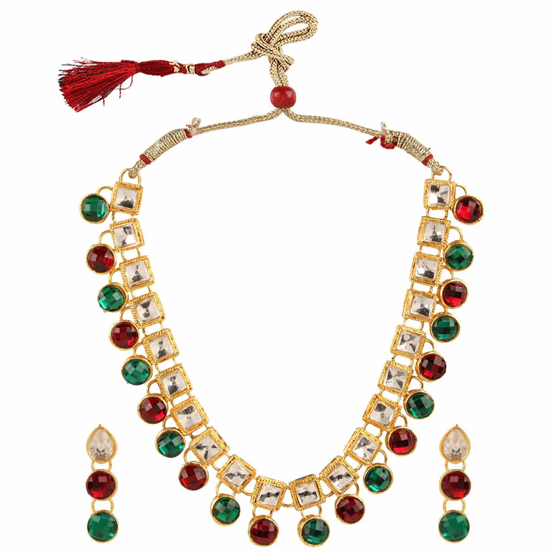 Efulgenz Indian Antique 18K Gold Tone Bollywood Traditional Bridal Kundan Polki Studded Designer Jewelry Necklace Set for Women and Girls Jaipur Art Jewellery MNT110