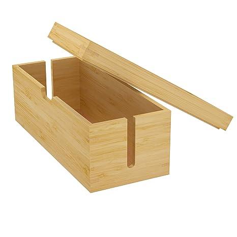 KD Essentials - Boîte de rangement de câbles en bambou - (LxHxP en cm :  33,5 x 14 x 14, gestion des câbles, ordre et organisation, matériau naturel  : ...