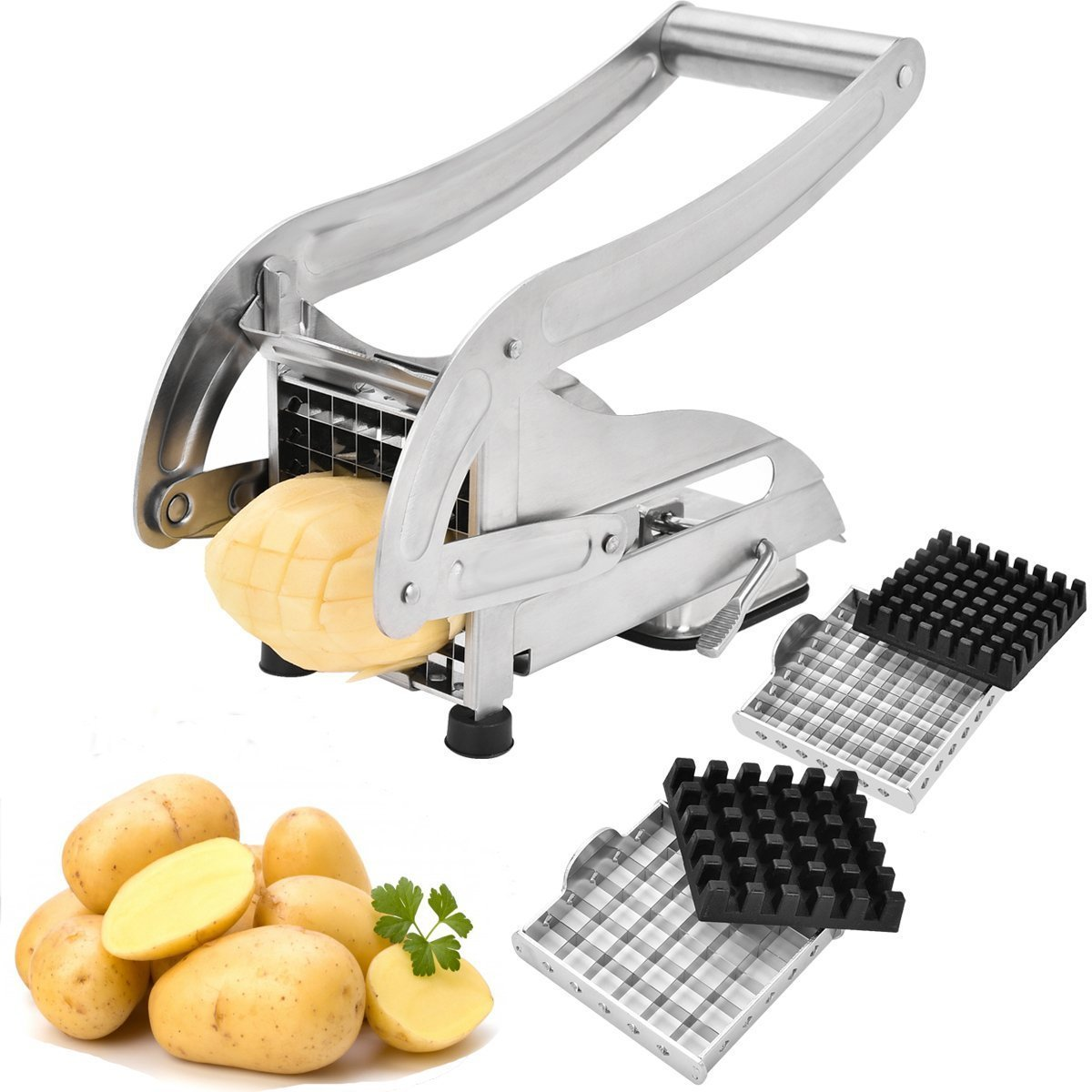 French Fry Cutter, Stainless Steel Potato Slicer Veggies Chopper and Dicer Potato Fries Maker with 2 Size Interchangeable Blades and Strong-Hold Suction Pads