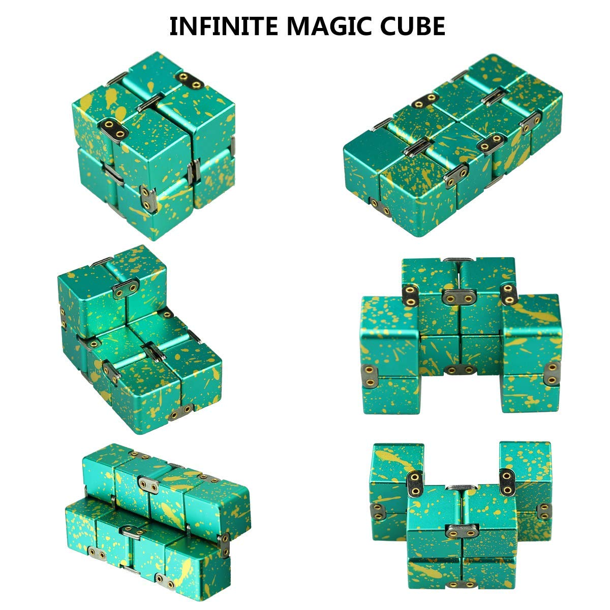 HELESIN Infinity Cube Fidget Toys Relaxation Office Stress Reducers for ADD, ADHD, Anxiety, Autism Adult & Kids, Aluminium Alloy, Camouflage by HELESIN (Image #4)