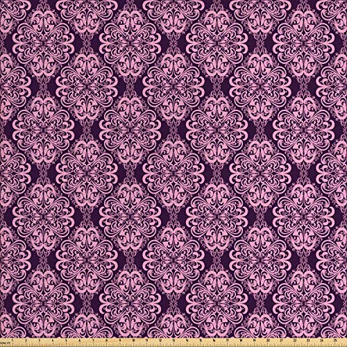 Ambesonne Purple Fabric by The Yard, Victorian Romantic Damasked Floral Oriental Swirl Pattern Artwork Image, Decorative Fabric for Upholstery and Home Accents, Plum and Pale Pink ()