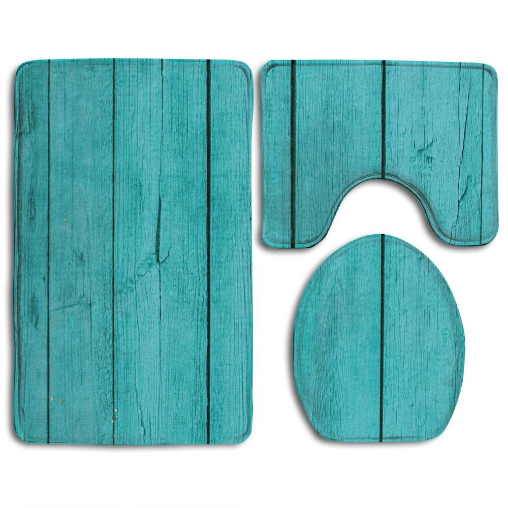 Hexu Old Wooden Rustic Oak Plank Background With Vertical Striped Vivid Woods Farm Barn Image Teal Bathroom Rug 3 Piece Bath Mat Set Contour Rug And Lid Cover